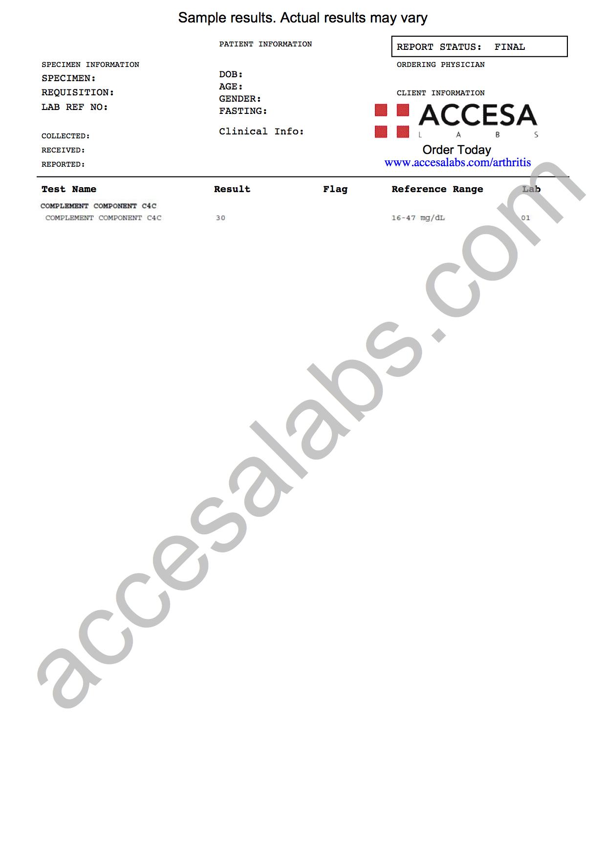 C4 Blood Test Sample Report