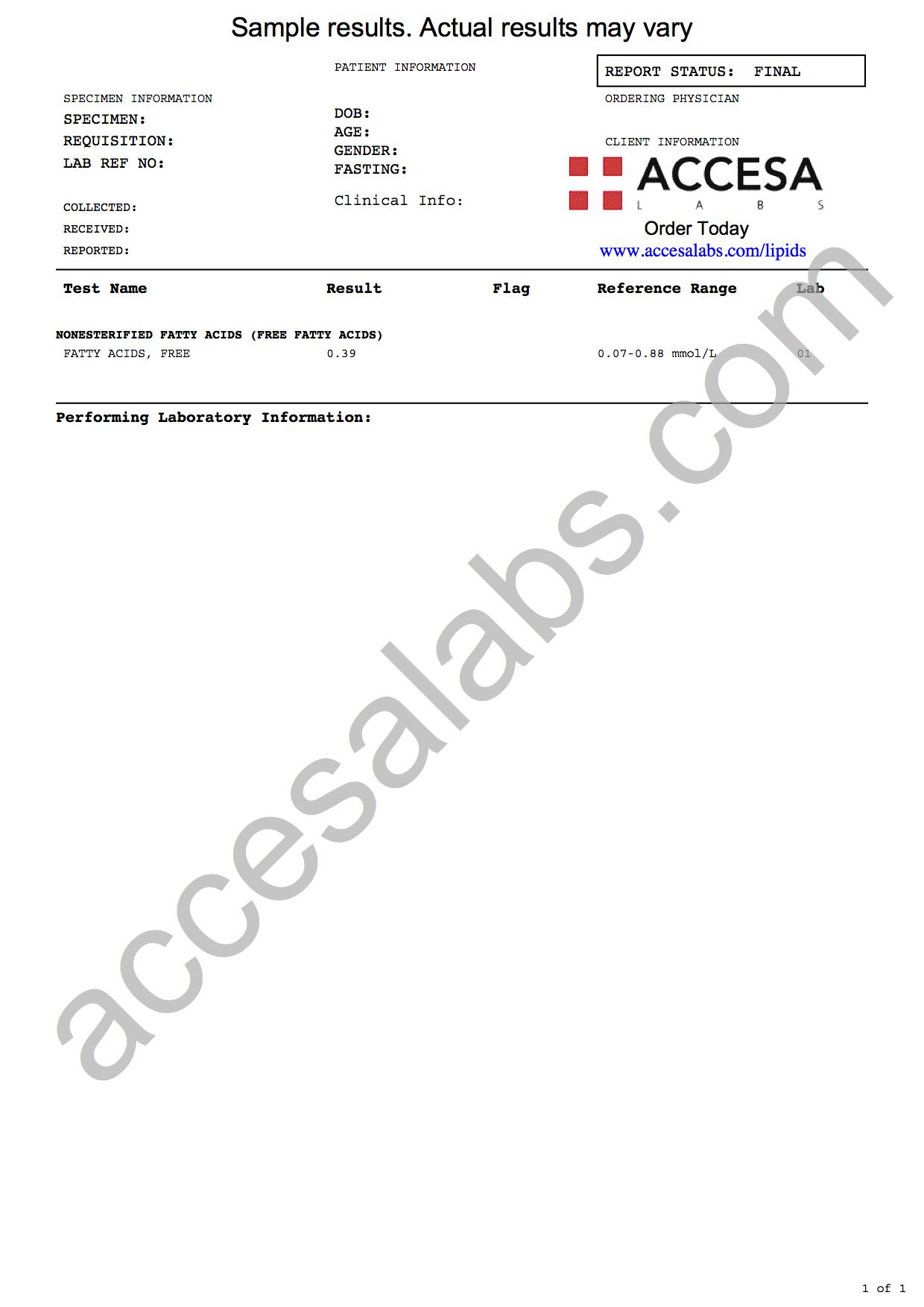Fatty Acid Test Sample Report