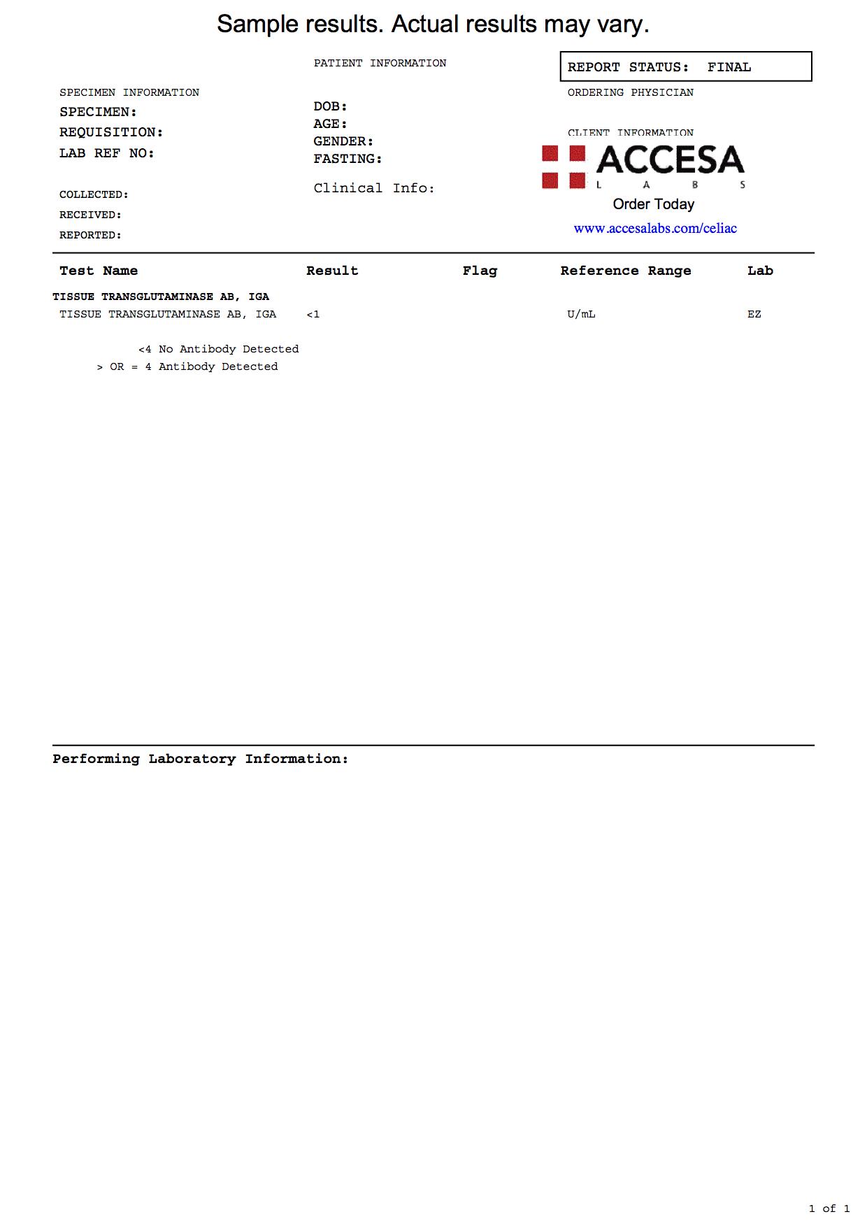tTG IgA Test Sample Report